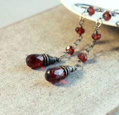 Garnet   Earrings  Oxidized Sterling Silver  Deep Red by Hildes