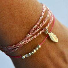 #pink #bracelet #silver #diy