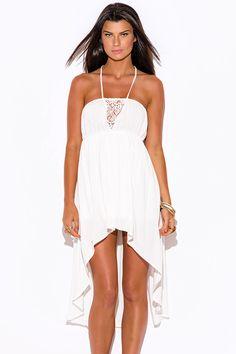 White-Lace-Trim-Halter-High-Low-Summer-Sun-Dress from Bonita Moda Boutique