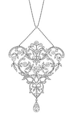 Belle Epoque Platinum and Diamond Lavaliere   The delicate openwork stylized garland motif centering one old European-cut diamond approximately 1.00 ct., suspending a drop-shaped pendant, accented by 15 old European-cut diamonds approximately 3.00 cts., set throughout with numerous old-mine single-cut diamonds, completed by a delicate platinum chain, circa 1905, approximately 16.4 dwt. Length 23 inches. With original fitted box.