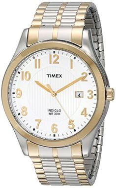 silver bands two tones and watches timex mens t2n851 elevated classics stainless steel dress watch two tone expansion band