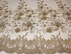 French Design lace fabric with 3d flower by fancyfabricsonline