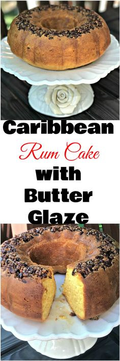 Skinny, Lightened-Up Puerto Rican Rum Cake with Butter Glaze makes the Caribbean perfect guilt-free dessert perfect for the holidays, Thanksgiving, and Christmas. #ThanksgivingRecipes #ChristmasRecipes #HolidayRecipes #HolidayDesserts #Cakes #Dessert #Alcohol Desserts #Rum #DrinkRecipes