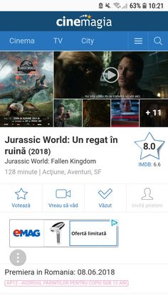 Falling Kingdoms, Jurassic World, Cinema, City, Ruins, Movies, Cities, Movie Theater