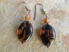 Gold abd Brown Handmade Dangle Earrings by BaublesAbode on Etsy, $8.00