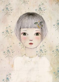 Marie Portrait Illustration  Digital-wall art-6 x 8 par holli
