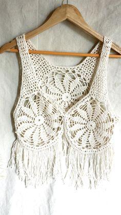 Cotton crochet vest crochet waistcoat ivory por PoppyBlueCrochet