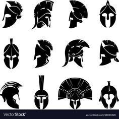 Silhouettes spartan helmet isolated from the background. Vector set of roman or greek warrior helmet. Helmets spartan soldiers in the side and front view. Soldier Helmet, Warrior Helmet, Knights Helmet, Spartan Warrior, Spartan Helmet Tattoo, Helmet Drawing, Spartan Logo, Greek Helmet, Roman Helmet