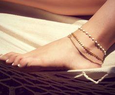BETSY ANKLET- triple chain anklet. $20.00, via Etsy.