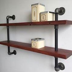 Style industriel bois et acier/tuyaux, meuble, support, support