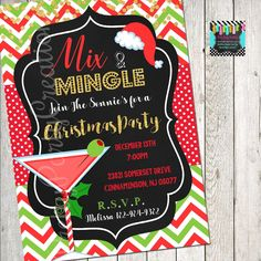 Christmas Chalkboard, Holiday Invitations, Christmas Cocktails, Perfect Party, All Design, Holiday Parties, Rsvp, Handmade Gifts, Etsy Shop