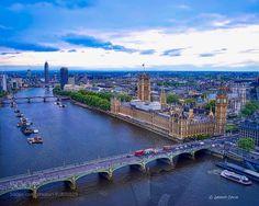 House of Parliament - Big Ben from London Eye by gcolca  England Travel London United Kingdom Skyline Cityscape Thames River London Eye Big Ben London Skylin