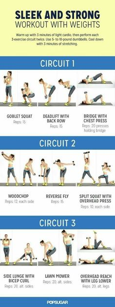 Add some weights to your workout to build more metabolism-boosting muscle. This circuit workout will help you get sleek and strong. Directions: Warm up with