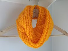 Infinity scarf - Cowl - Snood -Circle scarf -  Knitted. Bright yellow. Girls' scarf. by TheScarfRoom on Etsy