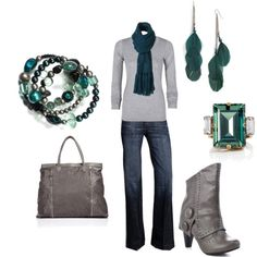 LOOK - Gray jeans, white or pale gray top, boots with teal/emerald/jade jewelry acc & scarf