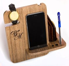iPhone 6s Dock Station, solid walnut wood, gift for men, personalized engraving, Cell Phone Dock, gift for boyfriend, watch & valet dock