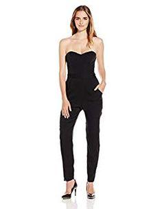 Must have Womans' Fashion Black Silk Bustier jumpsuit
