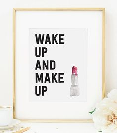 Wake Up e trucco acquerello rossetto stampa di RainCityDesignCo