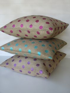 Spring Pillow Cover Burlap Pillows Metallic by ComfortsofHomeDecor, $25.00