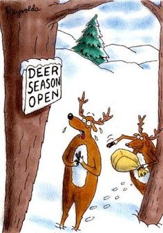 Deer Season funny cartoons from CartoonStock directory - the world's largest on-line collection of cartoons and comics. Funny Hunting Pics, Deer Hunting Humor, Hunting Jokes, Funny Deer, Hunting Stuff, Turkey Hunting, Whitetail Hunting, Hunting Pictures, Texas Hunting
