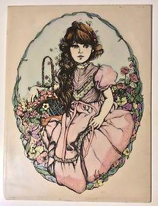 Shabby Chic Original Vickers Ivory Engraving Painting Flower Girl Long Island NY   eBay