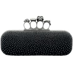 Alexander McQueen Studded Leather Knuckle Box Clutch ($2,115) ❤ liked on Polyvore featuring bags, handbags, clutches, knuckle box clutch, studded purse, genuine leather handbags, studded leather handbags and hard clutch