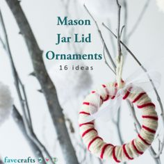Learn how to make mason jar lid ornaments with the lovely tutorials in this collection! Start making the loveliest crafts with canning jar lids. Mason Jar Christmas Crafts, Diy Christmas Gifts, Christmas Ornaments, Homemade Christmas, Christmas Projects, Christmas Mesh Wreaths, Deco Mesh Wreaths, Yarn Wreaths, Winter Wreaths