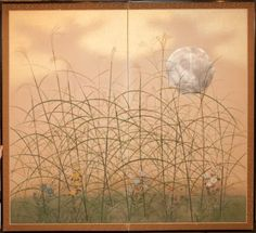 Japanese Screen - Silver Moon and Wild Grasses - (Plains of Matsushino) Gold dust on mulberry paper.  c.1920