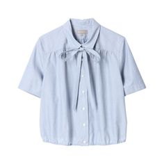 MARGARET HOWELL Chambray Cotton Blouse ($210) ❤ liked on Polyvore featuring tops, blouses, shirts, blue chambray shirt, shirts & blouses, cotton blouses, chambray shirt and blue blouse