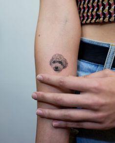 Tatuaje hiperrealista de perrito french poodle en el brazo