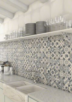 Top 15 Patchwork Tile Backsplash Designs for Kitchen 2019 white-blue-patchwork-backsplash-world-parks-vives.jpg The post Top 15 Patchwork Tile Backsplash Designs for Kitchen 2019 appeared first on Quilt Decor. Backsplash Tile Design, Tiles, Patchwork Tiles, Patchwork Kitchen, Kitchen Wall Tiles, Kitchen Wall, Trendy Kitchen, Kitchen Tiles Backsplash, Backsplash Designs