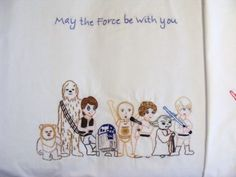 I would totally do this on a dish towel. Star Wars Crafts - Star Wars Embroidery.