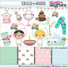 Spa Clipart, Spa Graphics, Spa Girls, Spa Party, COMMERCIAL USE, Kawaii Clipart, Planner Accessories, Spa Therapy, Pamper Cliparts