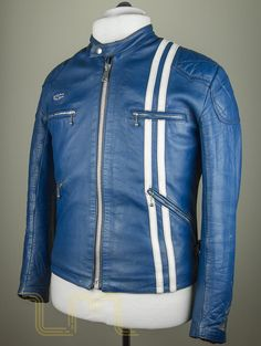 Vintage Lewis Leathers Racing Jacket Mk1 Blue Leather Biker Jacket lewis image three