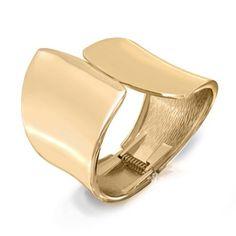 Bling Jewelry Modern Geometric Gold Plated Statement Bangle Cuff Bracelet - Rellek Jewelry