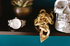 Nixon Facet Watch All Rose Gold - Silver Crane - Gold Necklace - For her