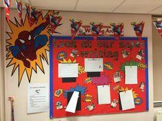 The best Superhero writing Superhero Writing, Superhero Classroom Theme, Superhero Room, Classroom Themes, Class Displays, School Displays, Classroom Displays, Year 2 Classroom, 3rd Grade Classroom