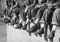 GI shoes, purchased at an army surplus store or handed down from an older brother, were all the rage among high school boys in 1948.  (Alfred Eisenstaedt—The LIFE Picture Collection/Getty Images)