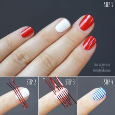 4th of July Nails! I never pin nail things but I actually like this simple idea :)