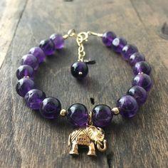 Amethyst Lucky Elephant Bracelet Stacking Bracelet by true2u