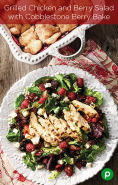 Grilled Chicken and Berry Salad with Cobblestone Berry Bake - Publix Aprons Simple Meals I Love Food, Good Food, Yummy Food, Tasty, Great Recipes, Dinner Recipes, Favorite Recipes, Publix Aprons Recipes, Clean Eating