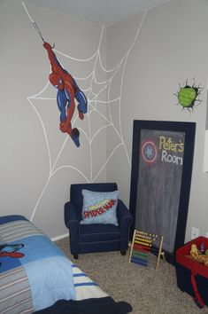 spiderweb wall for spiderman bedroom for little boy | kiddos