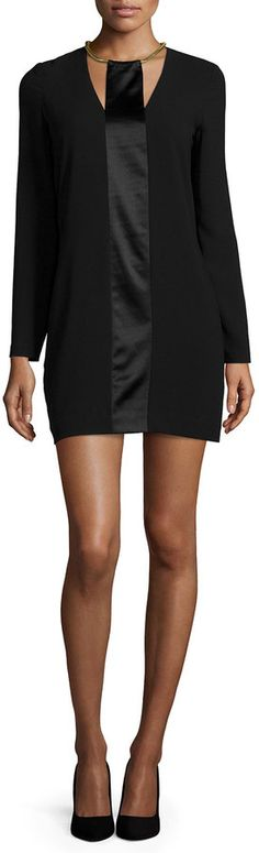 Halston Heritage Long-Sleeve Shift Dress with Satin Strip Little Red Dress, Perfect Little Black Dress, Little White Dresses, Trend Dress, Black White Red, Halston Heritage, Dress Codes, Get Dressed, Biscotti