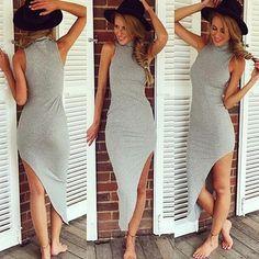 Women Sexy Turtleneck Sleeveless Irregular Long Dress Bodycon Sundress Beachwear on Luulla