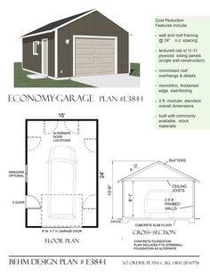 Economy 1 Car Garage Plan E384-1 By Behm Design