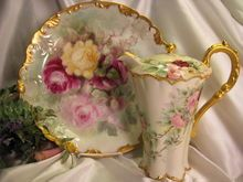 Victorian Roses CHOCOLATE COCOA POT Antique Haviland Limoges France Chocoliatiere HAND PAINTED TEA ROSES Fine Vintage Heirloom Rare Mold China Painting Circa 1900