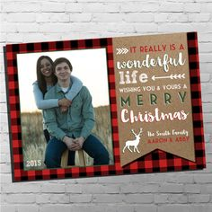 Plaid Christmas Card | Buffalo Check Christmas Card