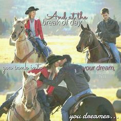 """Heartland: - Smoke 'n' Mirrors """"""""And at the break of day you sank into your dream, your dreamer. Heartland Season 7, Heartland Actors, Amy And Ty Heartland, Heartland Quotes, Heartland Tv Show, Ty Et Amy, Heart Land, Break Of Day, Mcleod's Daughters"""