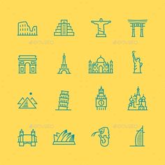 World Sights Icons (JPG Image, Vector EPS, CS, 4165x4167, architecture, brazil, building, coliseum, collection, culture, egypt, england, france, gate, icon, japan, japanese, landmark, location, monument, paris, pisa, pyramid, rio de janeiro, rome, russia, set, showplace, statue, symbol, taj mahal, tourism, tower, vector)