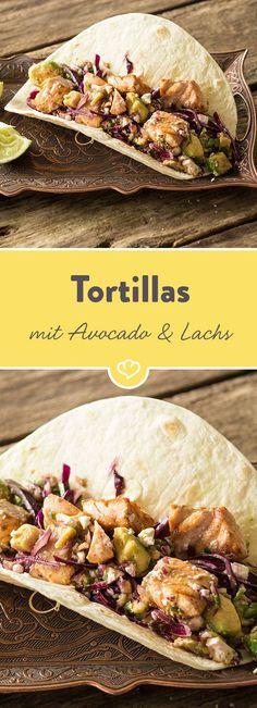 Ruckzuck gemacht und super lecker! Diese Tortilla-Füllung aus frischem Rotkohl und Avocado mit würzig mariniertem Lachs ist wie füreinander geschaffen.